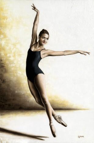 Fine art contemporary original oil painting of beautiful ballerina