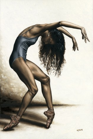 Fine art original oil painting of a beautiful ballerina dancer in a contemporary, dramatic, emotional composition
