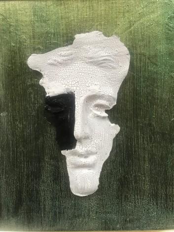 male man mask figure wall art sculpture