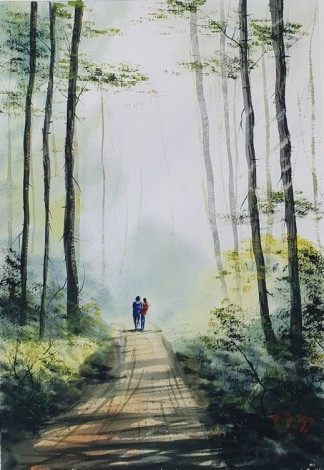 Walking in the Woods - Original watercolour painted by Ricky Figg