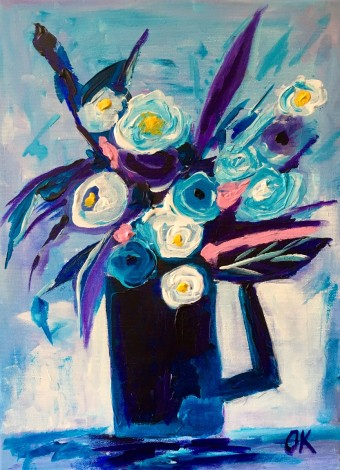 Blue Collection Naive Flowers in. Vase