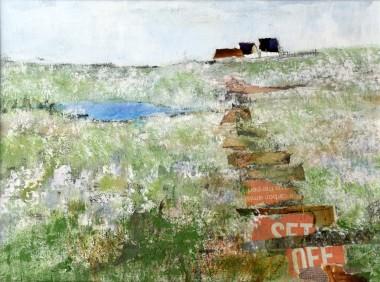 landscape, open field, cottages