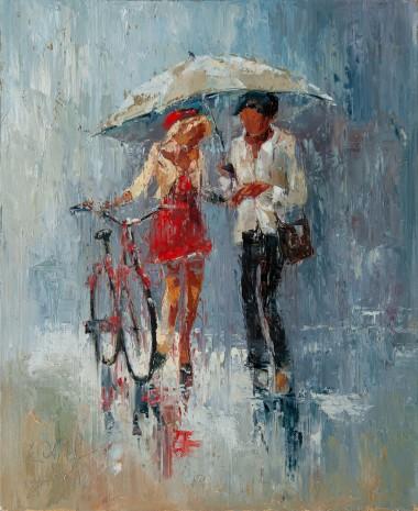 umbrella, rain, couple, running, city, town, street, raining, love, red, dress, girl, boy, bike, date, meeting