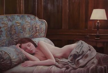 Sleeping beauty, oil on canvas painting