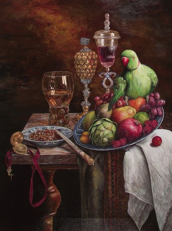 Still life with fruits and green Little Alexander parrot