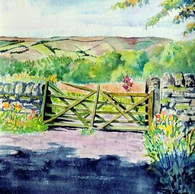 Watercolour , gate overlooking fields