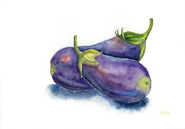 still life, colorful, eggplant, food, fruit, healthy nature plants, purple, vegetable, plants, watercolor, art, painting