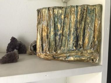 Relief sculpture gold Klimt forest