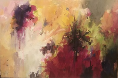 Large abstract multi coloured oil painting