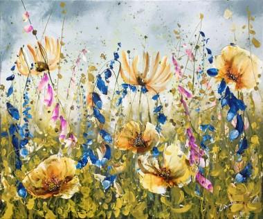 floral landscape painting foxgloves