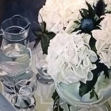 Glass Reflections with white Hydrangeas
