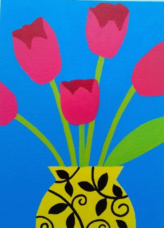 Five Pink Tulips IV