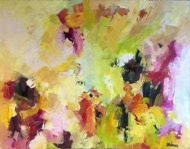 Large abstract oil painting with black white pink orange and green on white            g