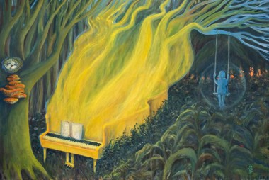 acrylic painting, forest, piano, surreal landscape, symbolic, yellow, green, girl on the swing,
