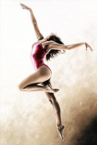 Fine art original oil painting of a beautiful modern dance ballerina