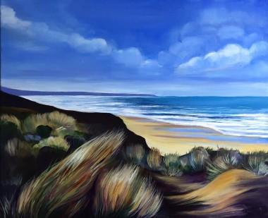 beach dunes North Devon coast oil painting Dawn Rodger coast Woolacombe clouds