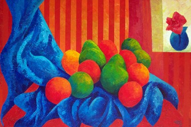 Fruit Still Life with Striped Wallpaper