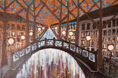 Bridge over shimmering river