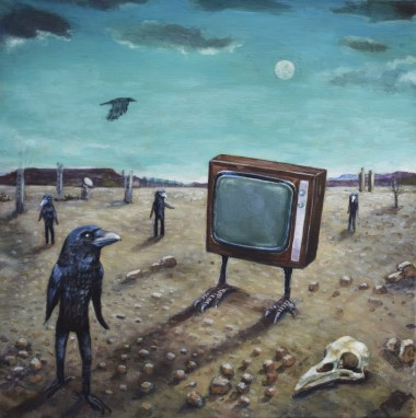 surreal crow painting