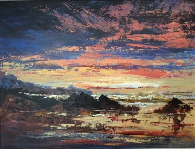 Semi abstract seascape Oil painting by David Mather.