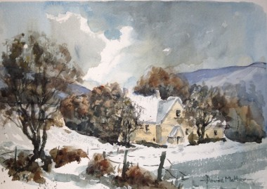 Farm cottage in the snow Watercolour by David Mather