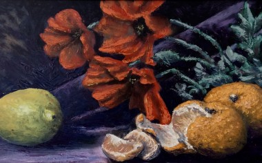 Poppies and citrus fruit, oil painting by David Mather