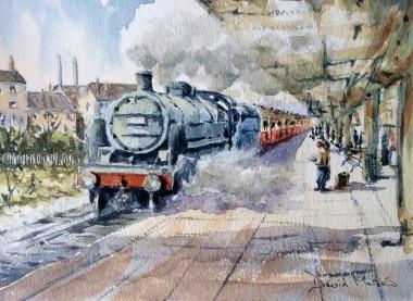 Platform 2 watercolour by David Mather