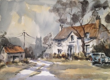 Thatched cottage watercolour by David Mather