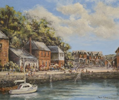 Padstow harbour oil painting by David Mather