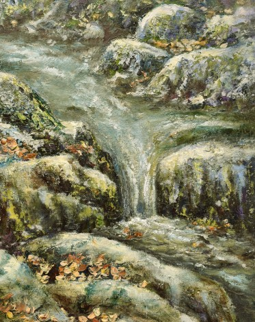 Autumn leaves on the river Tavy oil painting by David Mather