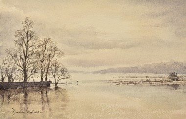 Winter floods watercolour by David Mather