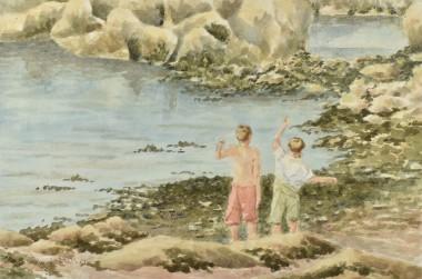 Seaside friends watercolour by David Mather