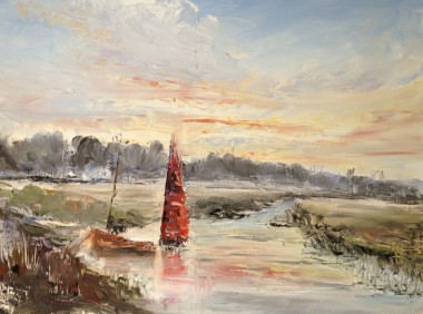 Red sail oil painting by David Mather