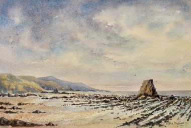 Black rock Widemouth bay, watercolour by David Mather.