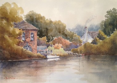 Bude canal watercolour by David Mather