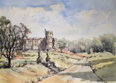 Mount Edgecumbe estate watercolour and ink by David Mather