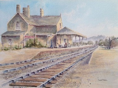 Brentor Station watercolour by David Mather