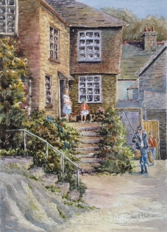 Home With the Catch watercolour by David Mather