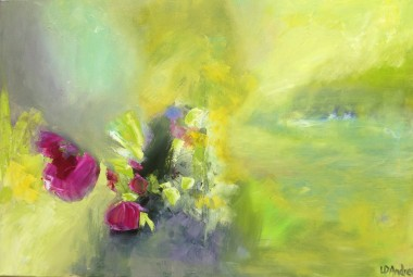 An abstract oil painting of wild flowers