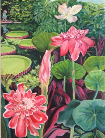 Gazing into the lily pond at the Edinburgh Botanics