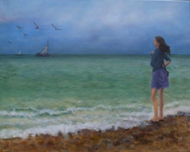 The Girl on the Beach -Seascape with Sailing boats