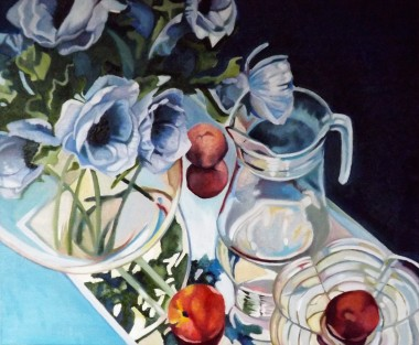 Glass Reflections with Anemones and nectarines