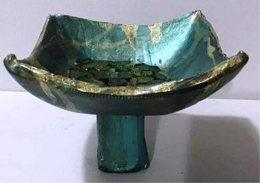 sculpture glass green gold japan japanese