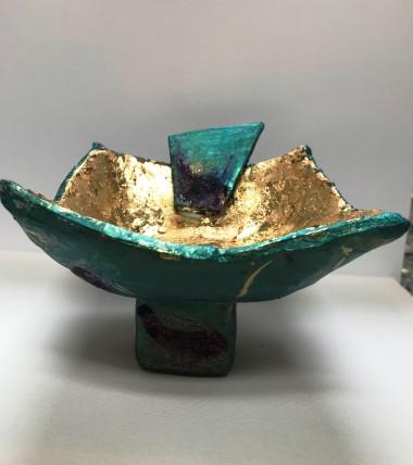 Sculpture bowl turquoise gold japan japanese