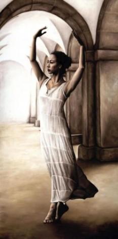 Fine art original oil painting of a beautiful ballerina dancer