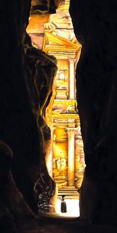 Fine art original oil painting of a belly dancer at Petra in Jordan