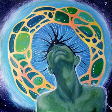 surreal,  psychedelic, painting, acrylic on canvas, blue, figurative, universe