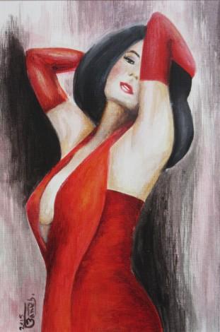 red dress, contemporary, figurative illustration