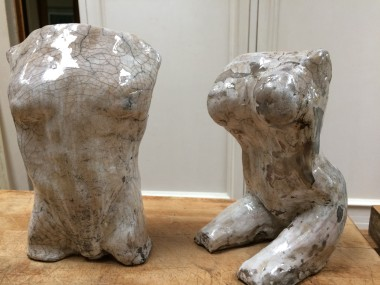 Adam and Eve Raku Sculpture