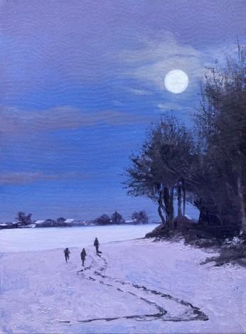 Walking in Moonlight - landscape, snowscape, winter landscape, nightime, winter, moonscape,
